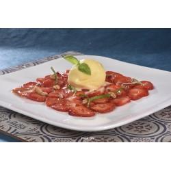 Carpaccio de fraises sauce erable vinaigre