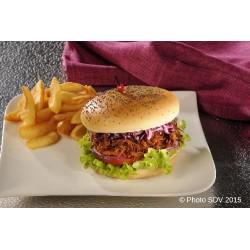Burger gourmet pavot effiloché de porc