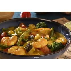 Crevettes au curry jaune thaï