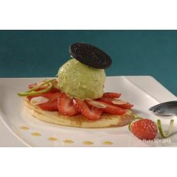 Sorbet avocat citron sur pancake