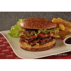 Burger gourmet éffiloché de porc