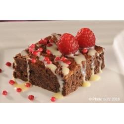 Brownie topping chocolat blanc et framboise
