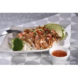 Effiloché de porc en salade de riz