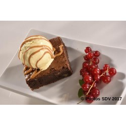 Brownie boule vanille et topping dulce