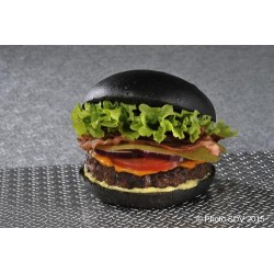 Black burger cheddar bacon