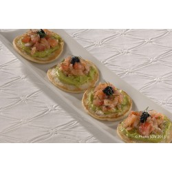 Blinis guacamole, tartare et saumon