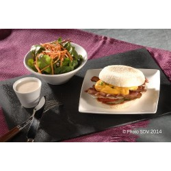 English muffin eggs and bacon