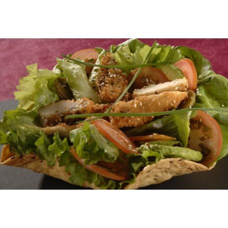 Taco salad aiguillettes de poulet aux graines