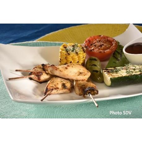 Brochettes de poulet cajun légumes grillés
