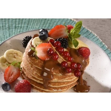 Pancakes fruits rouges dulce de leche