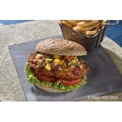 Burger poulet croustillant et pico mangue