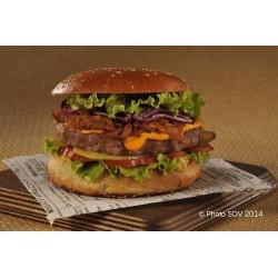 Burger gourmet Angus et éffiloché de porc