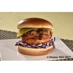Burger effiloché porc BBQ et galette de légumes