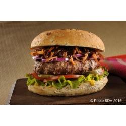 Burger steak angus et effiloché de porc