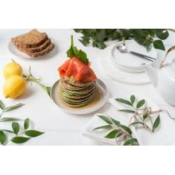 Pancakes épinard, saumon et sirop d'érable