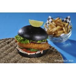 Black burger fish coleslaw