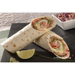 Wrap saumon, avocat, baies roses